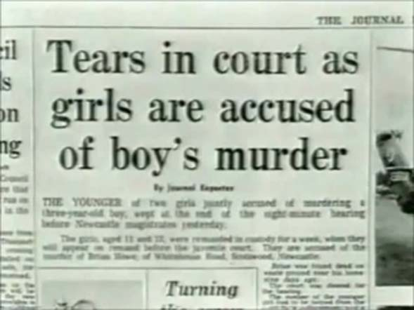 Newspaper on the following day of Mary Bell's trial